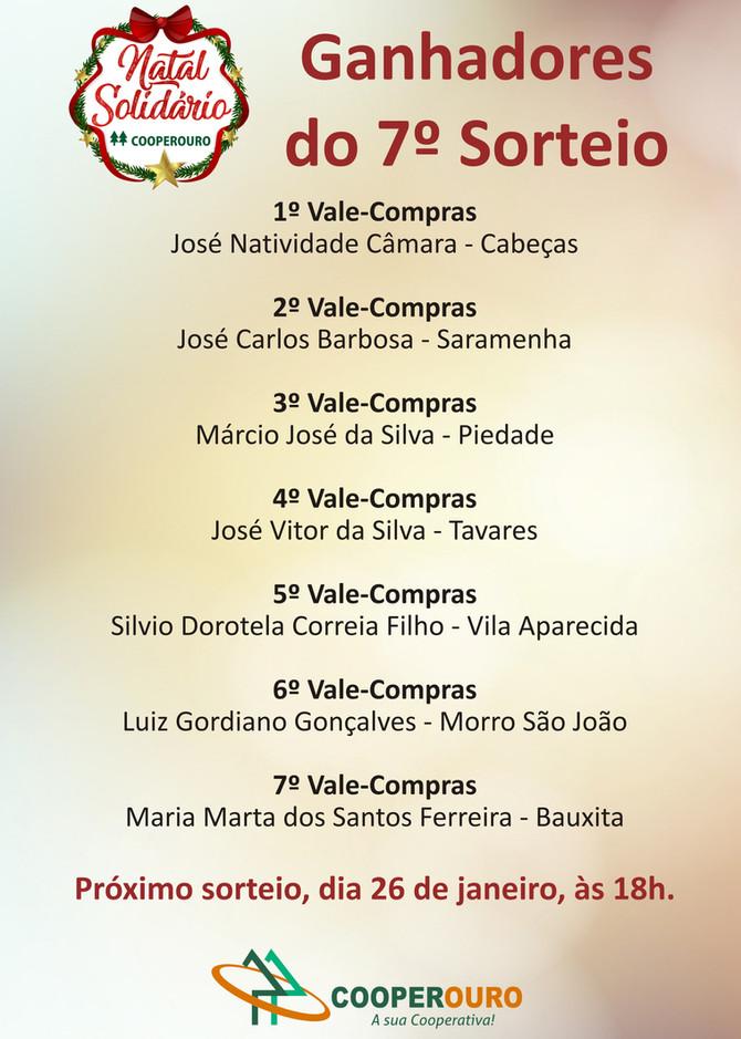 Ganhadores do 7º Sorteio - Natal Solidário Cooperouro