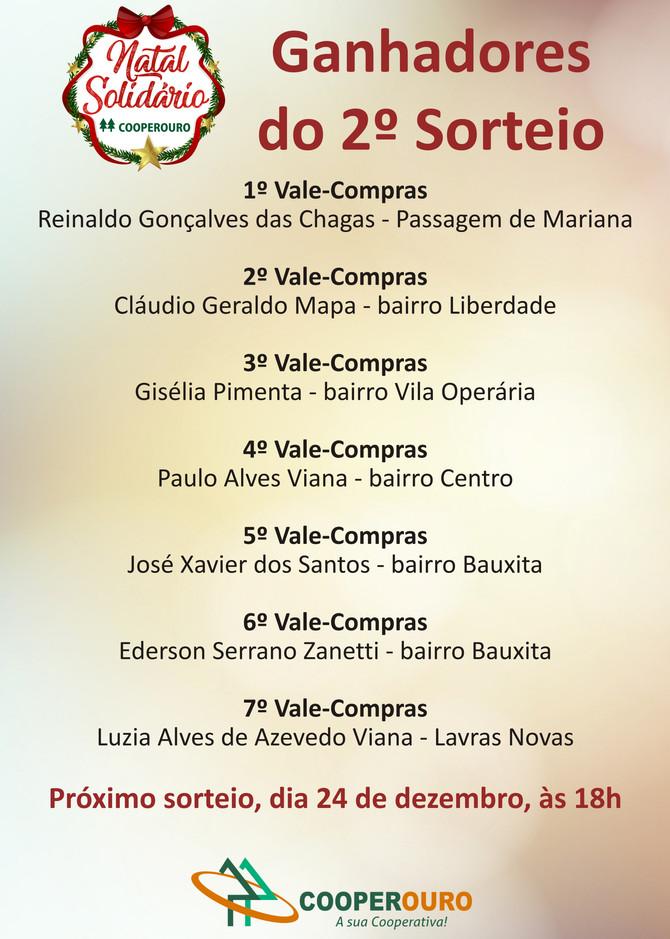 Ganhadores do 2º Sorteio - Natal Solidário Cooperouro.