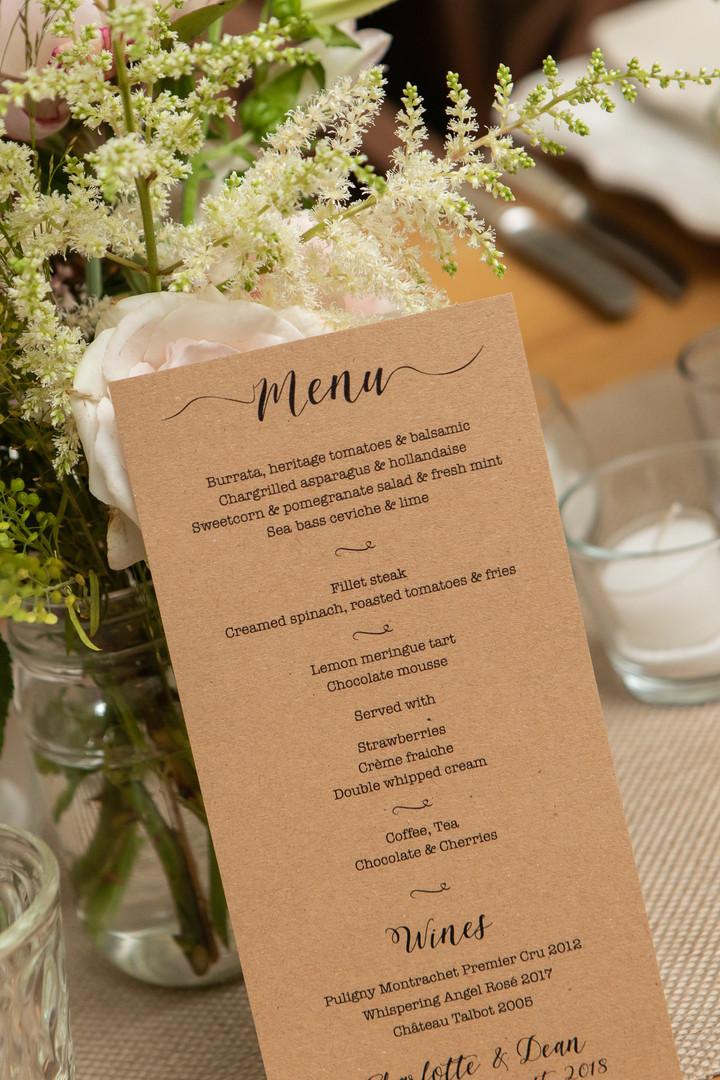 rustic menu design
