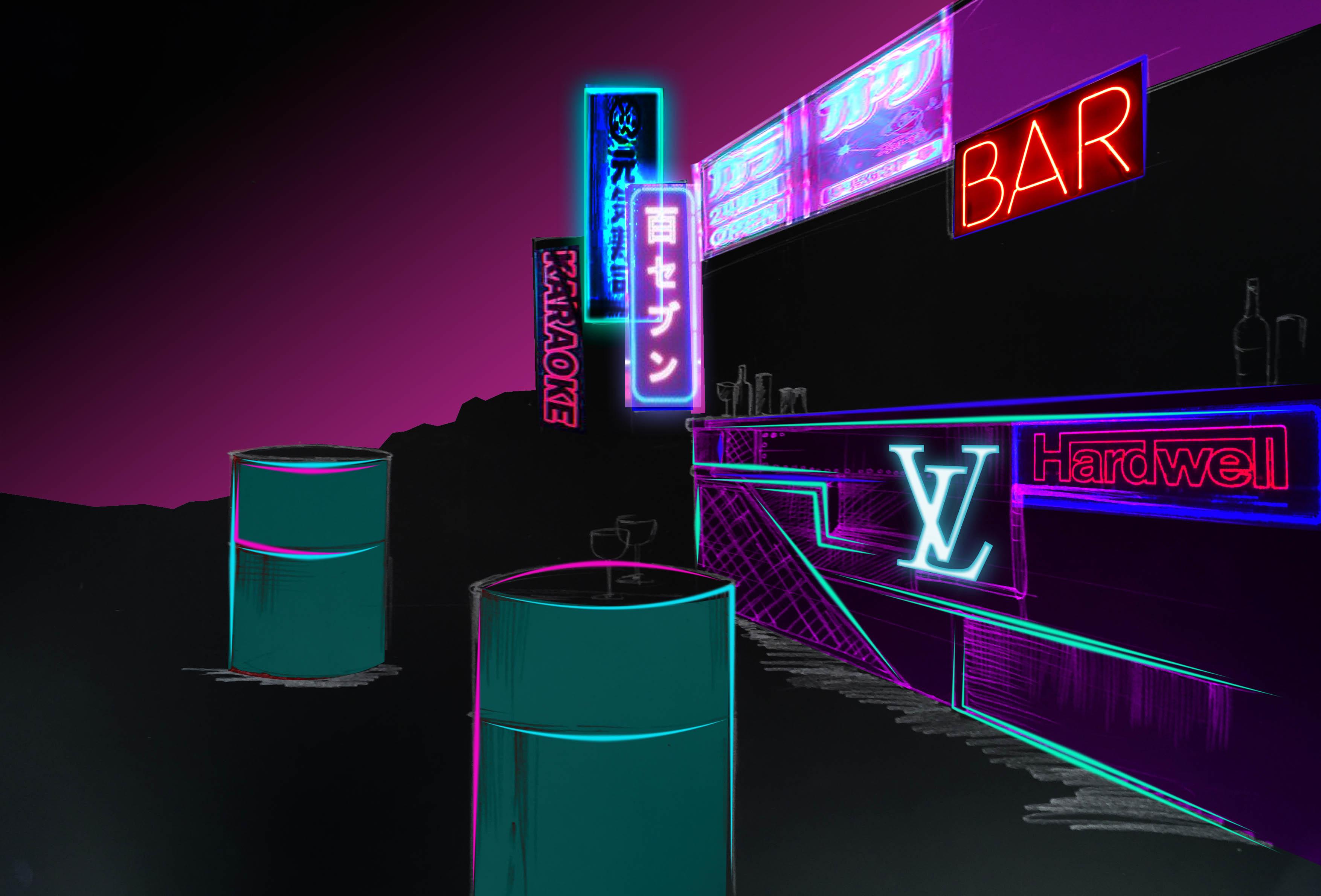 Neon city sketch
