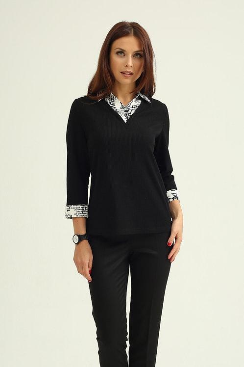 Блуза (арт.4351-1107) черный принт