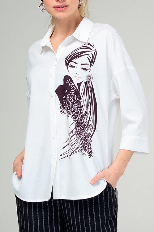 Блуза (арт.4325-1849) белый принт