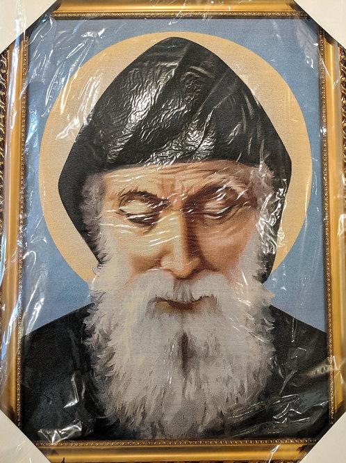 Meditating St. Sharbel Gold Framed Canvas