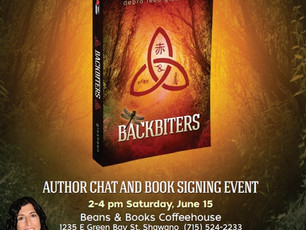 My Shawano area friends, I will be in your area June 15 at Beans & Books--please stop in to chat