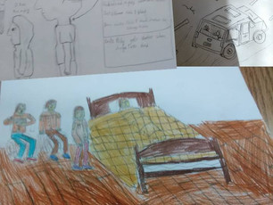 """Look at these scenes from """"Backbiters"""" that 5th- and 6th-grade readers at Maryland Montessori drew."""