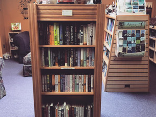 Tiny and adorable used bookstore in Shellate's Coffee Shop, Neenah, WI. I know they say they are dis