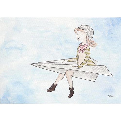 Postkarte - Postcard Fliegendes Mädchen