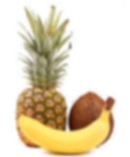 ananas-kokosnuss-und-banane-stock-fotogr
