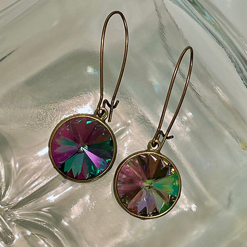Multi-Color Rivoli Crystal Earrings