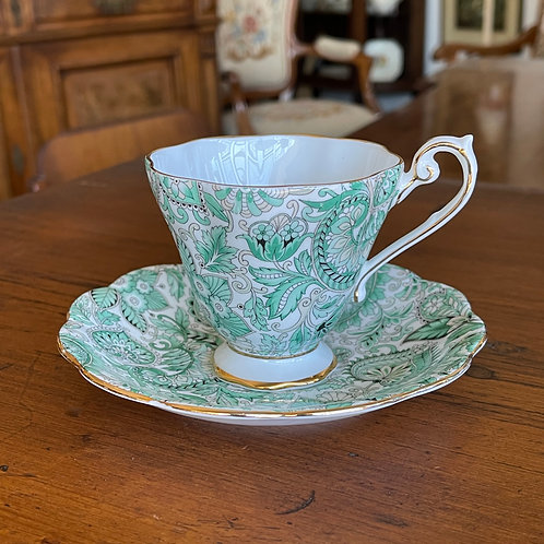 Royal Standard Green Paisley Cup and Saucer