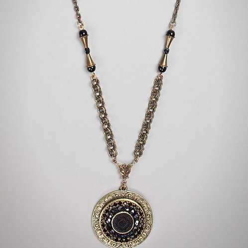 Grandmother's Buttons Bedazzled Jet Pendant