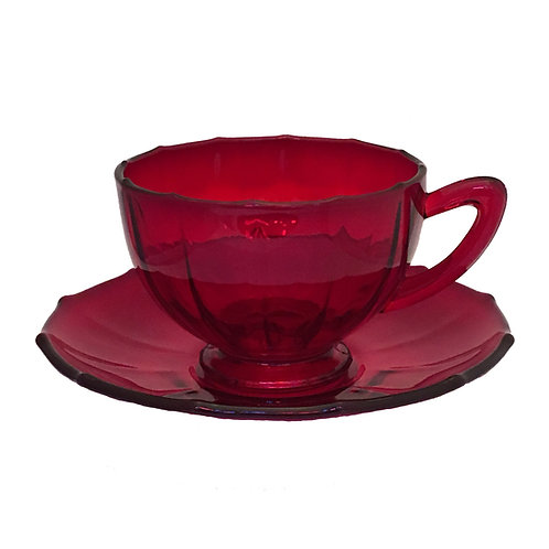 "New Martinsville ""Addie"" Cup & Saucer in Ruby"