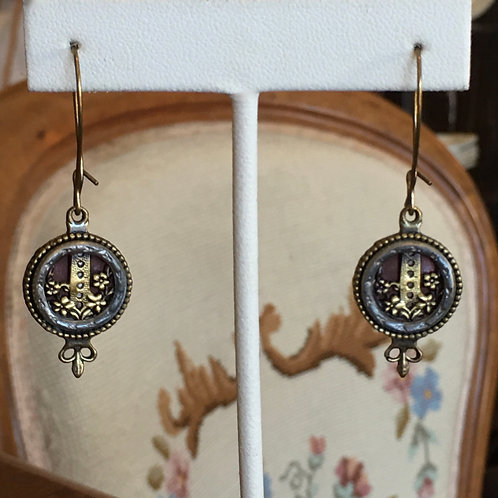 Antique Button Wire Drop Earrings