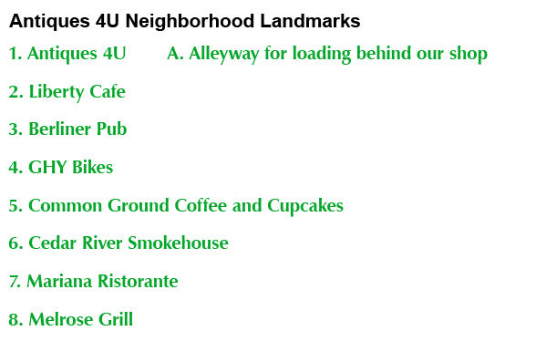 Antiques 4U Neighborhood Landmarks List