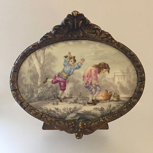 Antique Oval French Plaque in Gesso Frame
