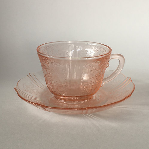 Pink Depression Glass Cup and Saucer