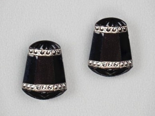 Onyx Deco Post Earrings