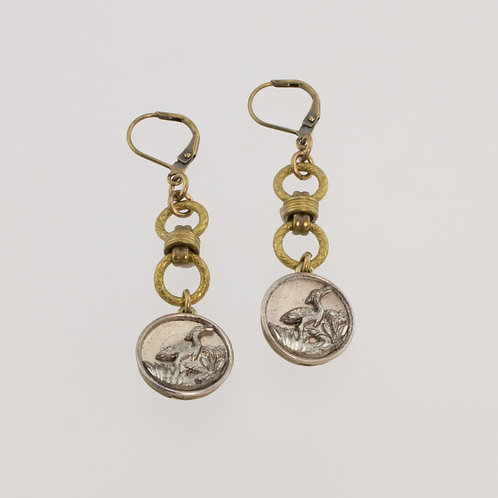 Grandmother's Buttons Regal Antique Button Lever Back Earrings