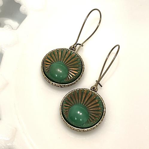 Mid Century West German Glass Button Earrings