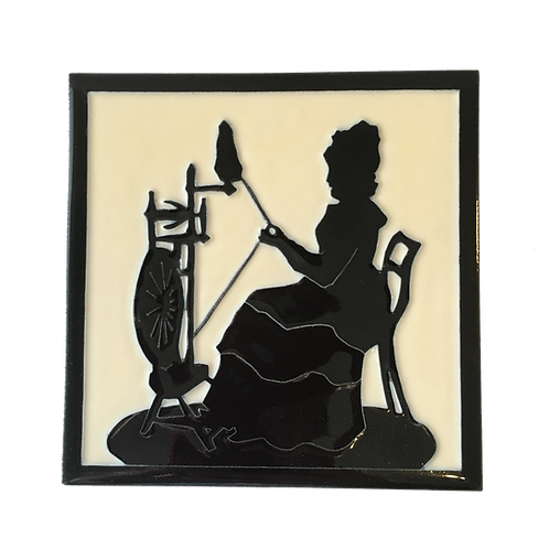 Franklin Tile Co. Silhouette Tile of Woman at Spinning Wheel