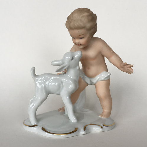 Wallendorf Porcelain Figurine of Putti Boy and Baby Goat