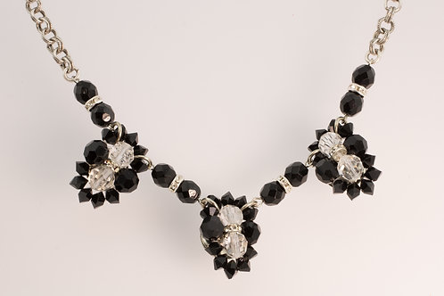 Vintage Black and Crystal Glass Necklace