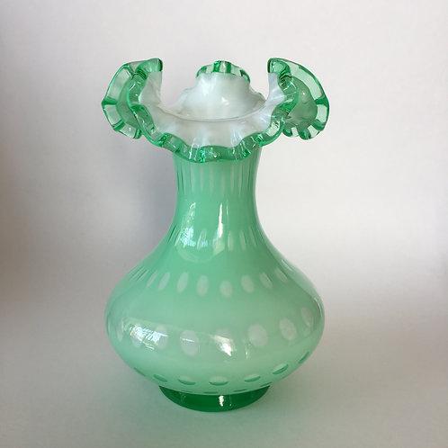 Fenton Apple Green Overlay Bubble Optic Vase