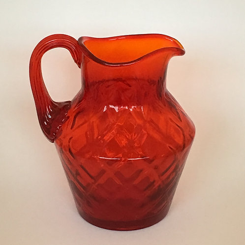 Fenton Orange Diamond Optic Pitcher