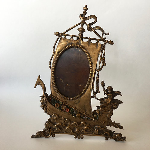 Antique Brass Tall Ship Picture Frame