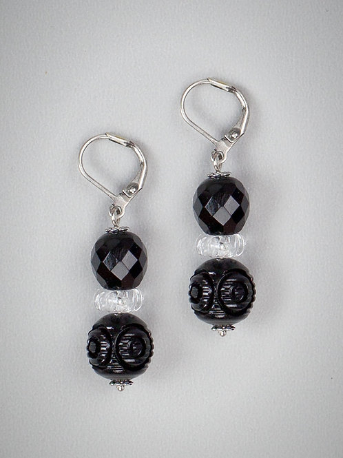 Jet Glass & Vintage Lucite Drop Earrings