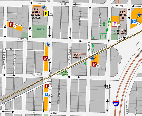 Map of Downtown Renton Showing Public Parking