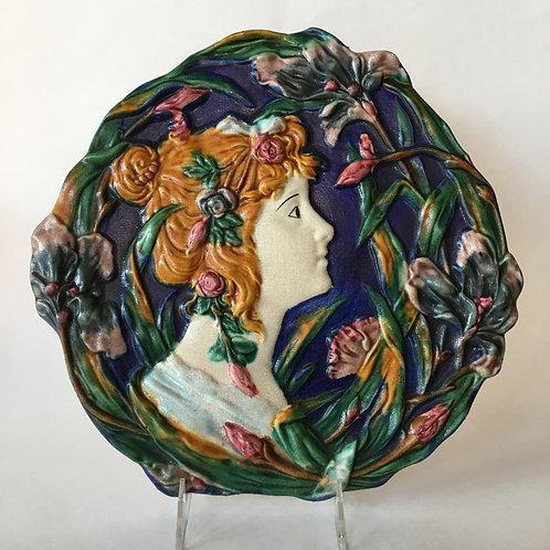 Antique Art Nouveau Plaque - Lady and Flowers