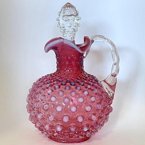 Fenton Cranberry Opalescent Hobnail Cruet