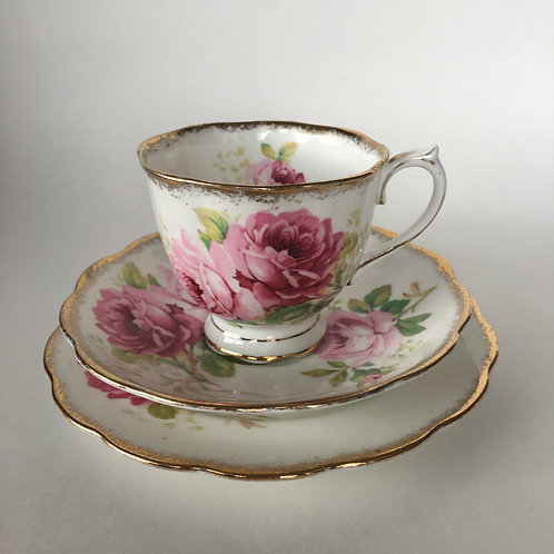 "Royal Albert ""American Beauty"" Cup and Saucer Trio"