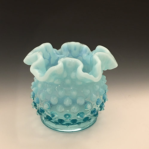 "Fenton Blue Opalescent Hobnail 3"" Glass Vase"