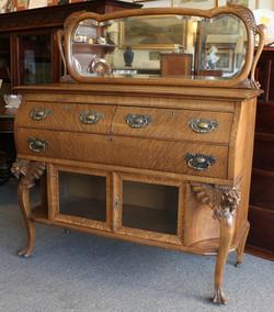 Antique Oak Mirrored Sideboard