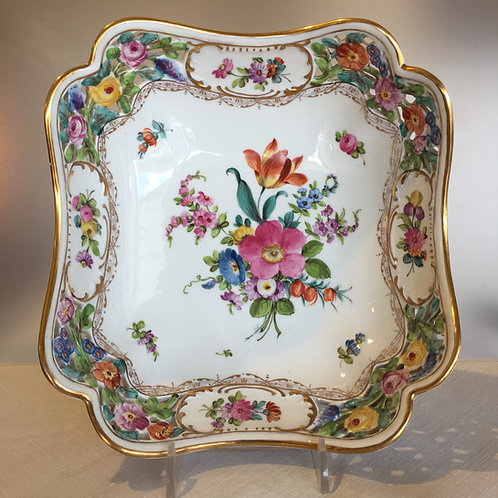Dresden Germany Floral Reticulated Bowl