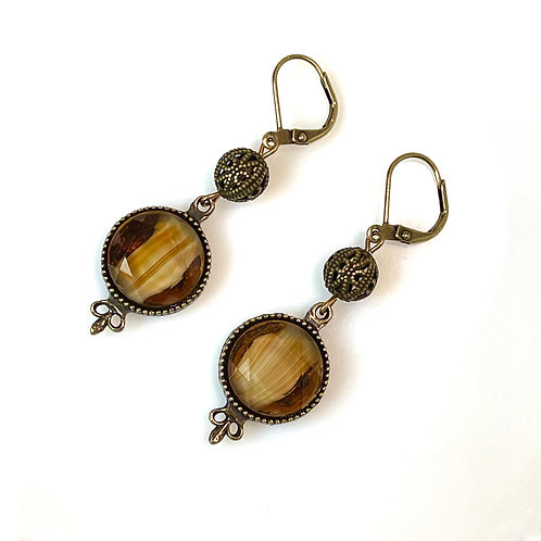 Brown and White Givré Glass Earrings