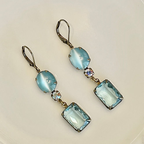 Sky Blue Moonglow and Crystal Earrings