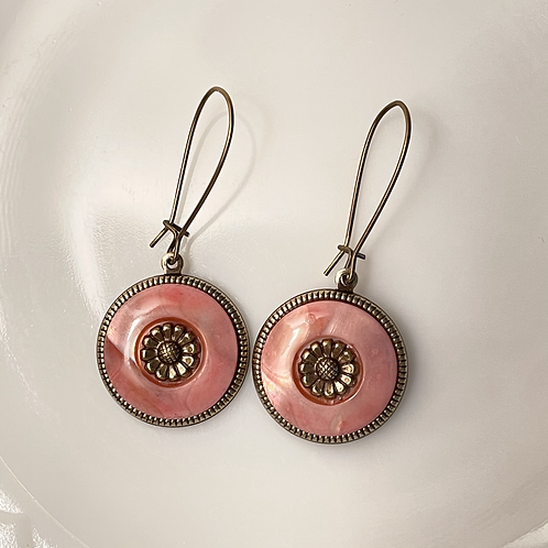 Hand-dyed Vintage Mother of Pearl Button Earrings