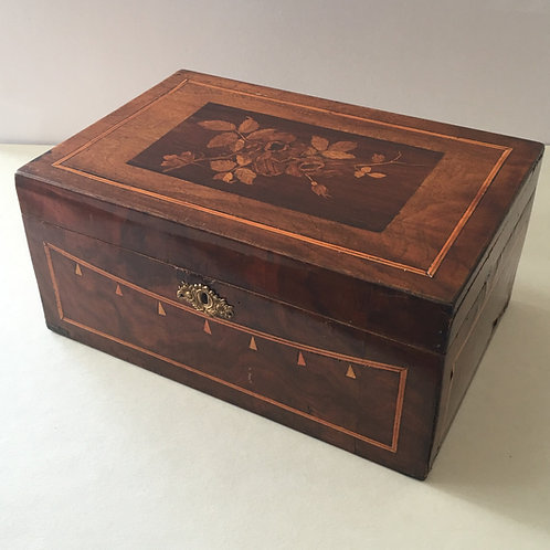 Antique Handmade Wood Box with Marquetry Inlay