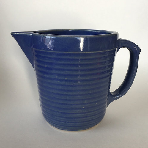 Monmouth USA Earthenware Blue Ring Pitcher