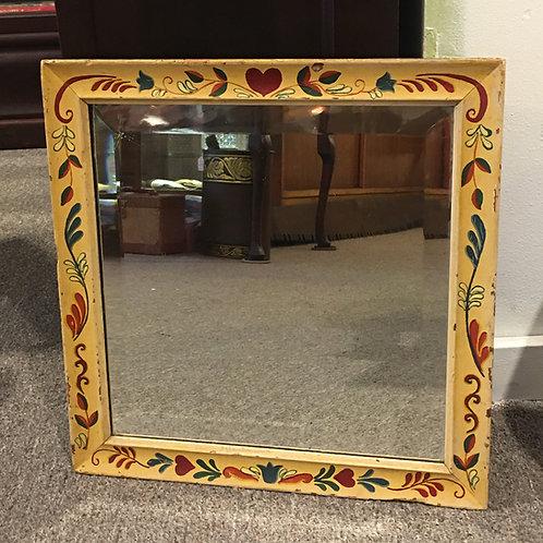 Antique Hand Painted Square Mirror