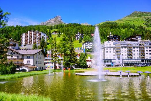 Davos city center, Switzerland, a popula