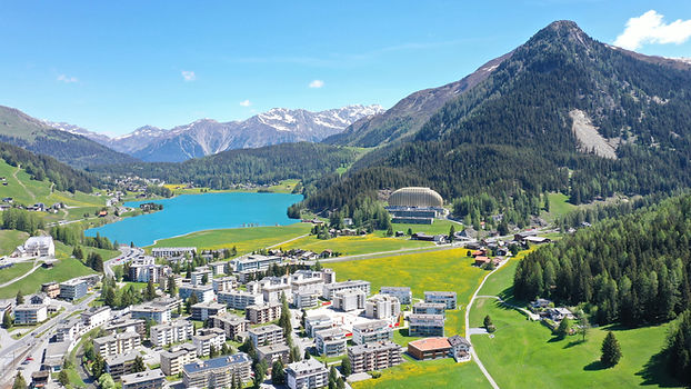 Davosersee Interconti Berge See Grün Bla