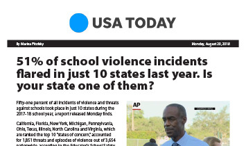 USA Today - 51% of school violence flared in just 10 states
