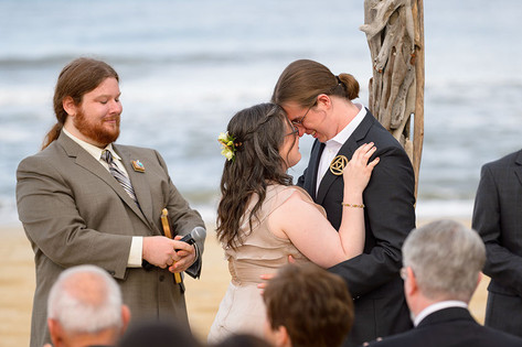 Couple embracing during ceremony
