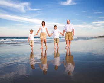 PM Family walking on the beach