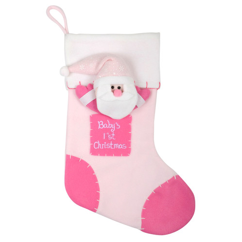 celebrate babys first christmas with this festive stocking made from soft pink fleece fabric it features an adorable 3d santa character and embroidered - Girls Christmas Stocking