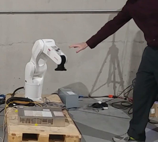 Robot halted after detecting human
